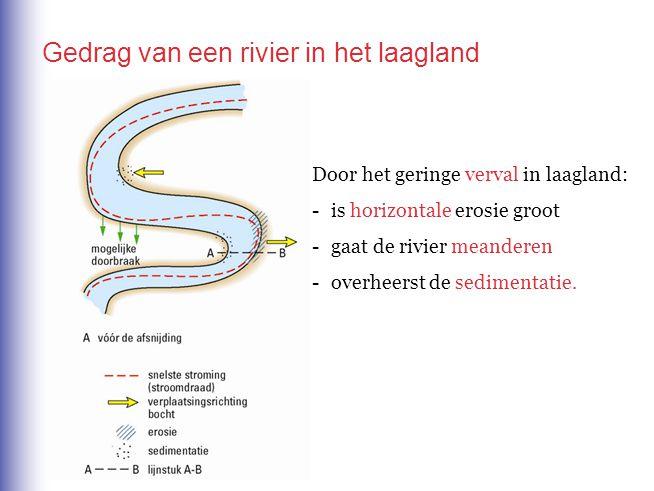 Door het geringe verval in laagland: -is horizontale erosie groot -gaat de rivier meanderen -overheerst de sedimentatie. Gedrag van een rivier in het