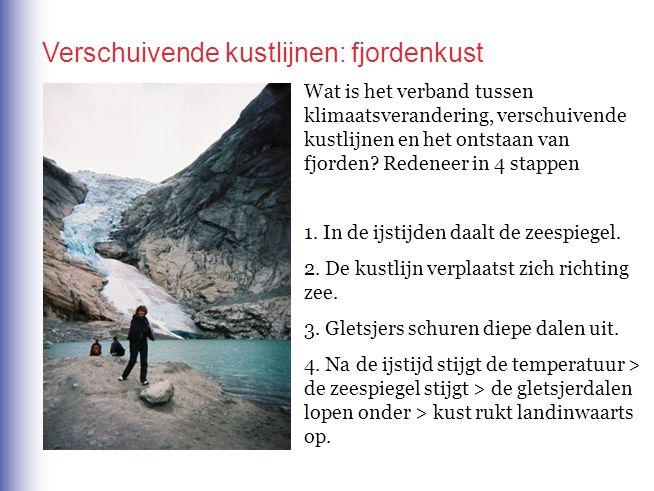 Wat is het verband tussen klimaatsverandering, verschuivende kustlijnen en het ontstaan van fjorden? Redeneer in 4 stappen 1. In de ijstijden daalt de
