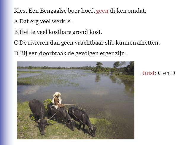 Kies: Een Bengaalse boer hoeft geen dijken omdat: A Dat erg veel werk is. B Het te veel kostbare grond kost. C De rivieren dan geen vruchtbaar slib ku
