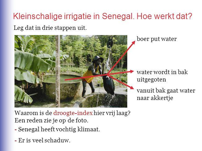 boer put water water wordt in bak uitgegoten vanuit bak gaat water naar akkertje Waarom is de droogte-index hier vrij laag? Een reden zie je op de fot