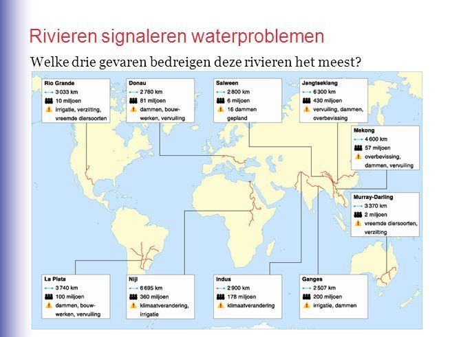 Welke drie gevaren bedreigen deze rivieren het meest? Rivieren signaleren waterproblemen