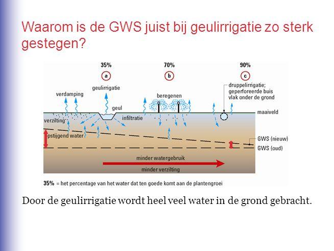 Door de geulirrigatie wordt heel veel water in de grond gebracht. Waarom is de GWS juist bij geulirrigatie zo sterk gestegen?