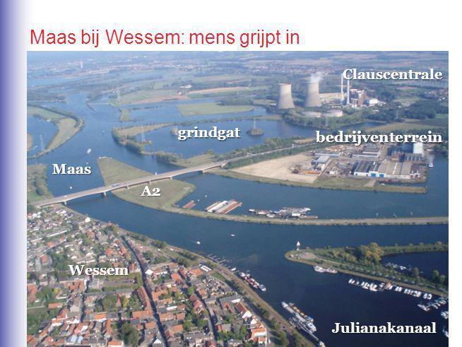 Clauscentrale bedrijventerrein A2 Julianakanaal Wessem grindgat Maas Maas bij Wessem: mens grijpt in