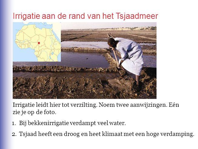 Irrigatie leidt hier tot verzilting. Noem twee aanwijzingen. Eén zie je op de foto. 1.Bij bekkenirrigatie verdampt veel water. 2.Tsjaad heeft een droo
