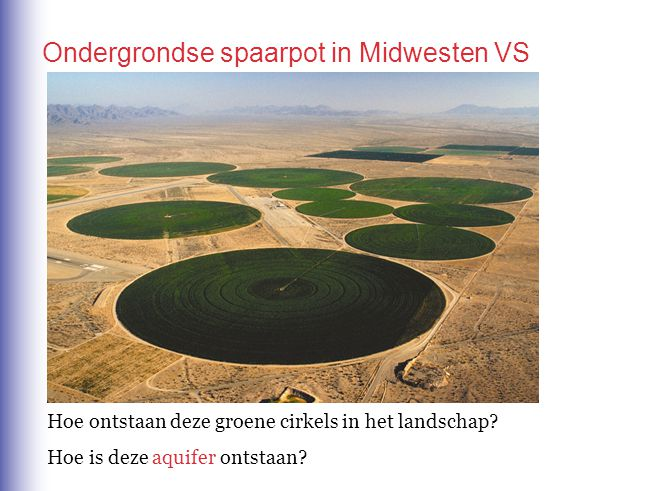 Hoe ontstaan deze groene cirkels in het landschap? Hoe is deze aquifer ontstaan? Ondergrondse spaarpot in Midwesten VS