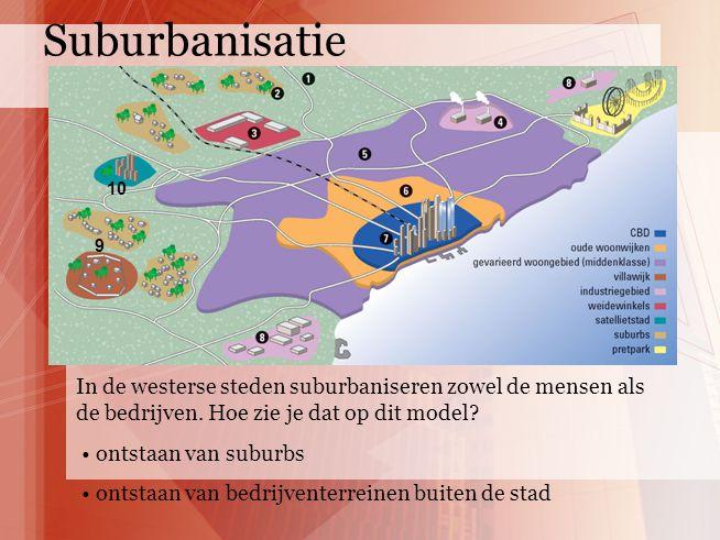 9 10 In de westerse steden suburbaniseren zowel de mensen als de bedrijven. Hoe zie je dat op dit model? ontstaan van suburbs ontstaan van bedrijvente