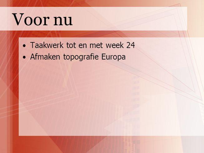 Voor nu Taakwerk tot en met week 24 Afmaken topografie Europa