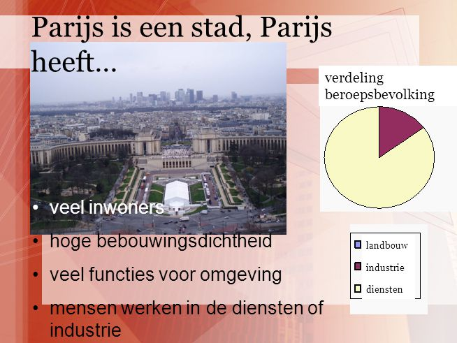 veel inwoners hoge bebouwingsdichtheid veel functies voor omgeving mensen werken in de diensten of industrie Parijs is een stad, Parijs heeft… landbou