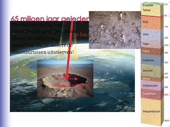 30 km/s 10 km doorsnee De enorme inslag had wereldwijde gevolgen, zowel direct als indirecte… waardoor onder andere de dinosaurussen uitstierven!