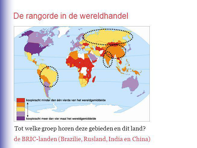 De rangorde in de wereldhandel Tot welke groep horen deze gebieden en dit land.