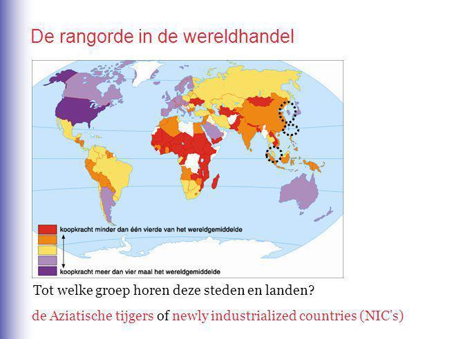De rangorde in de productie De verschuiving van productiewerk van de wereldtriade naar de lagelonenlanden heet beter vervoer (containers) verdwijnen handelsbarrières.