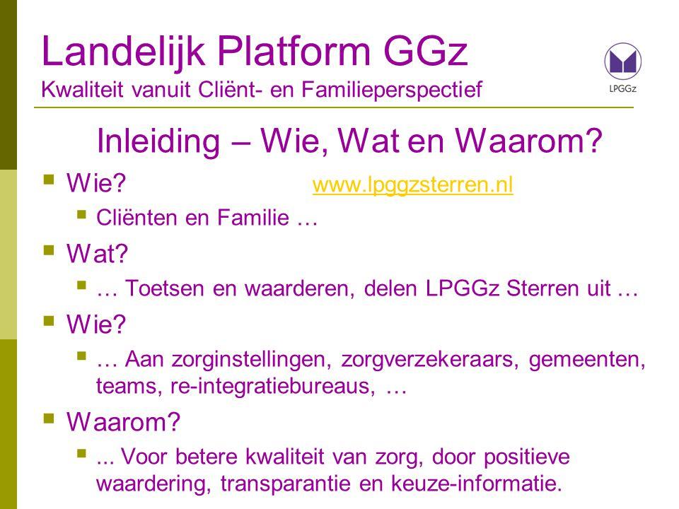 Inleiding – Wie, Wat en Waarom?  Wie? www.lpggzsterren.nl www.lpggzsterren.nl  Cliënten en Familie …  Wat?  … Toetsen en waarderen, delen LPGGz St