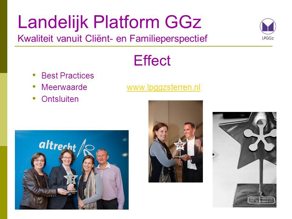 Effect Best Practices Meerwaarde www.lpggzsterren.nlwww.lpggzsterren.nl Ontsluiten Landelijk Platform GGz Kwaliteit vanuit Cliënt- en Familieperspecti