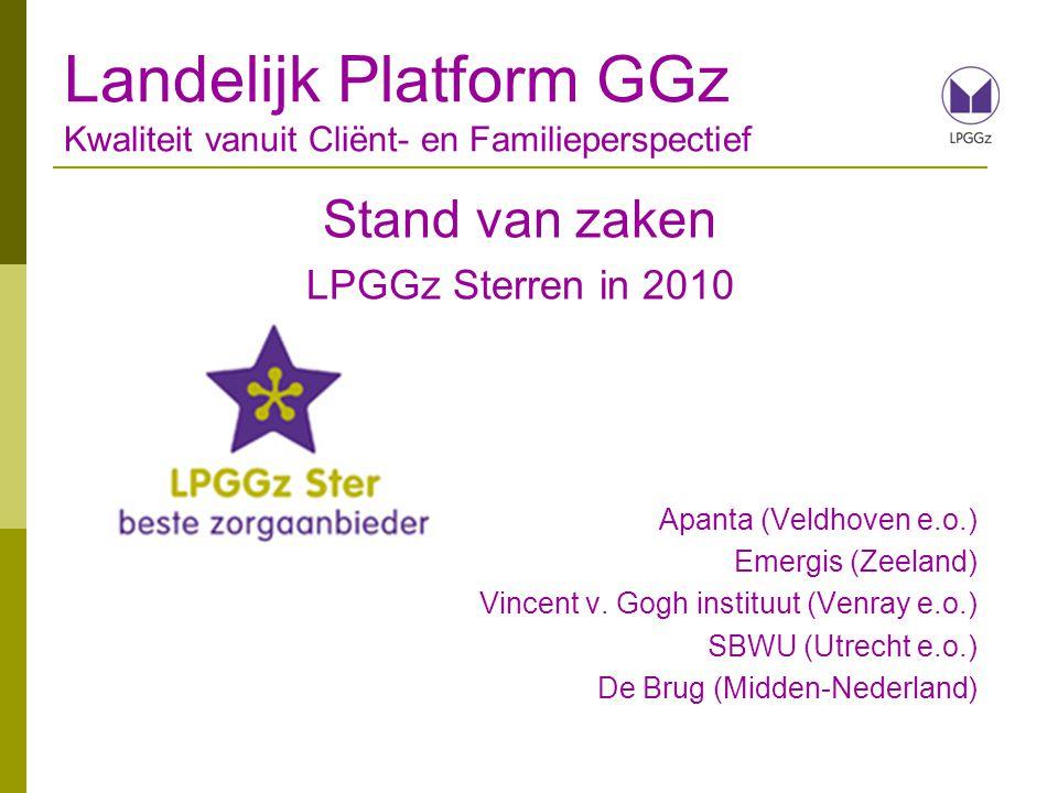 Stand van zaken LPGGz Sterren in 2010 Apanta (Veldhoven e.o.) Emergis (Zeeland) Vincent v. Gogh instituut (Venray e.o.) SBWU (Utrecht e.o.) De Brug (M