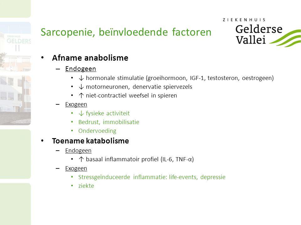 Sarcopenie, beïnvloedende factoren Afname anabolisme – Endogeen ↓ hormonale stimulatie (groeihormoon, IGF-1, testosteron, oestrogeen) ↓ motorneuronen, denervatie spiervezels ↑ niet-contractiel weefsel in spieren – Exogeen ↓ fysieke activiteit Bedrust, immobilisatie Ondervoeding Toename katabolisme – Endogeen ↑ basaal inflammatoir profiel (IL-6, TNF-α) – Exogeen Stressgeïnduceerde inflammatie: life-events, depressie ziekte