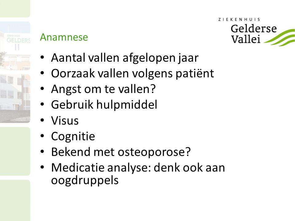 Anamnese Aantal vallen afgelopen jaar Oorzaak vallen volgens patiënt Angst om te vallen? Gebruik hulpmiddel Visus Cognitie Bekend met osteoporose? Med