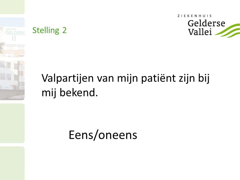 Stelling 2 Valpartijen van mijn patiënt zijn bij mij bekend. Eens/oneens