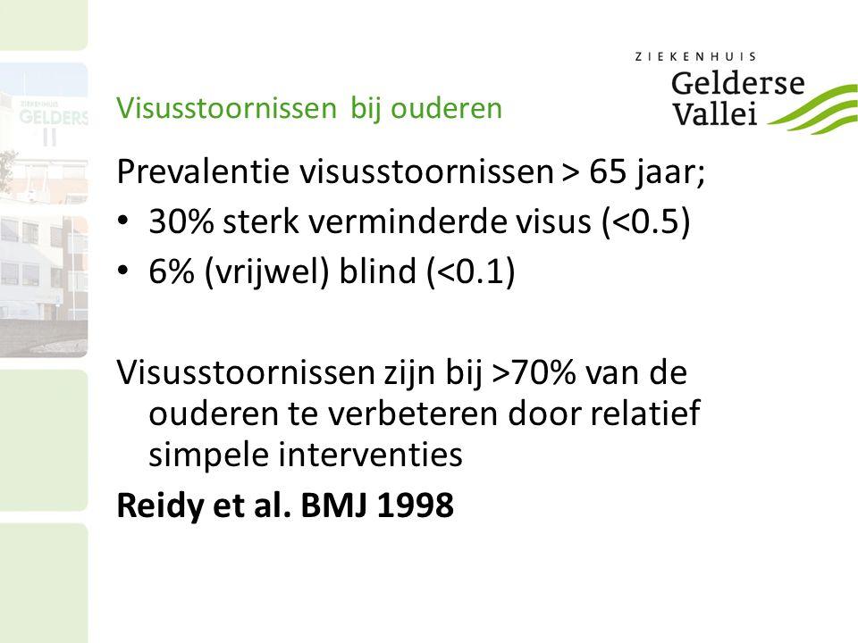 Visusstoornissen bij ouderen Prevalentie visusstoornissen > 65 jaar; 30% sterk verminderde visus (<0.5) 6% (vrijwel) blind (<0.1) Visusstoornissen zijn bij >70% van de ouderen te verbeteren door relatief simpele interventies Reidy et al.