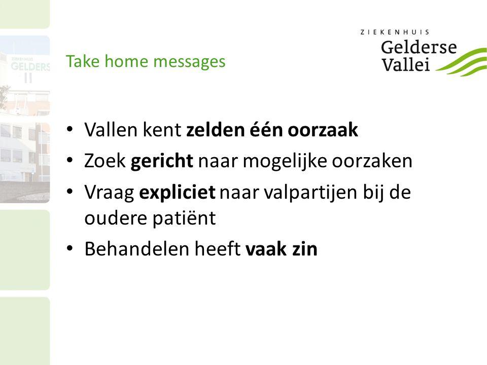 Take home messages Vallen kent zelden één oorzaak Zoek gericht naar mogelijke oorzaken Vraag expliciet naar valpartijen bij de oudere patiënt Behandel