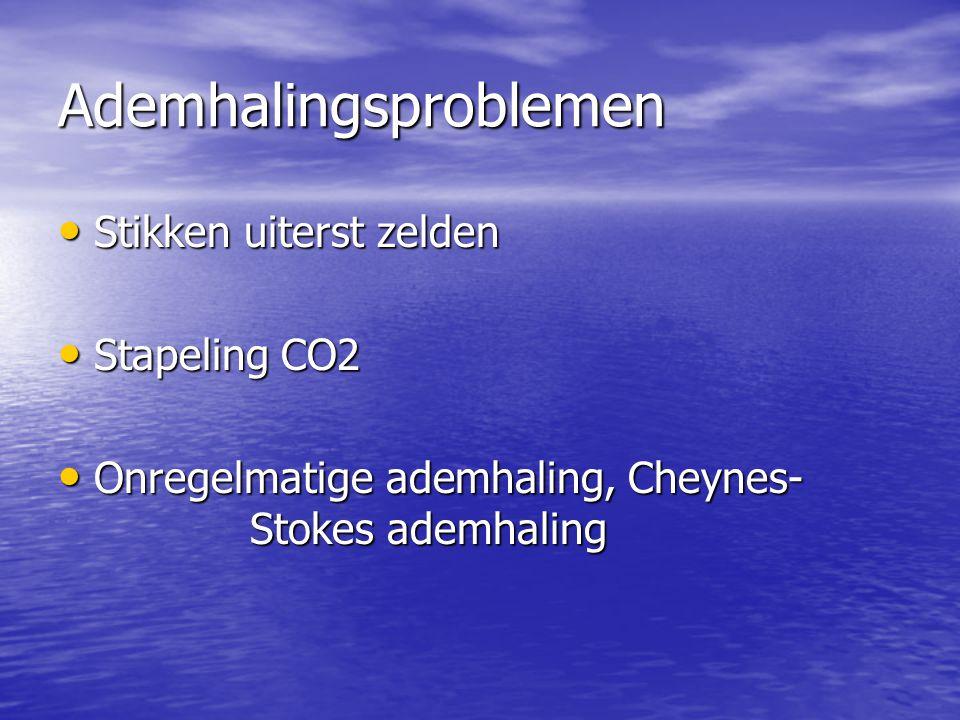 Ademhalingsproblemen Stikken uiterst zelden Stikken uiterst zelden Stapeling CO2 Stapeling CO2 Onregelmatige ademhaling, Cheynes- Stokes ademhaling On