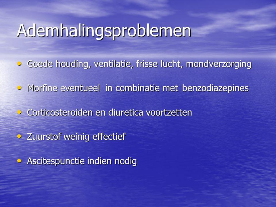 Ademhalingsproblemen Goede houding, ventilatie, frisse lucht, mondverzorging Goede houding, ventilatie, frisse lucht, mondverzorging Morfine eventueel