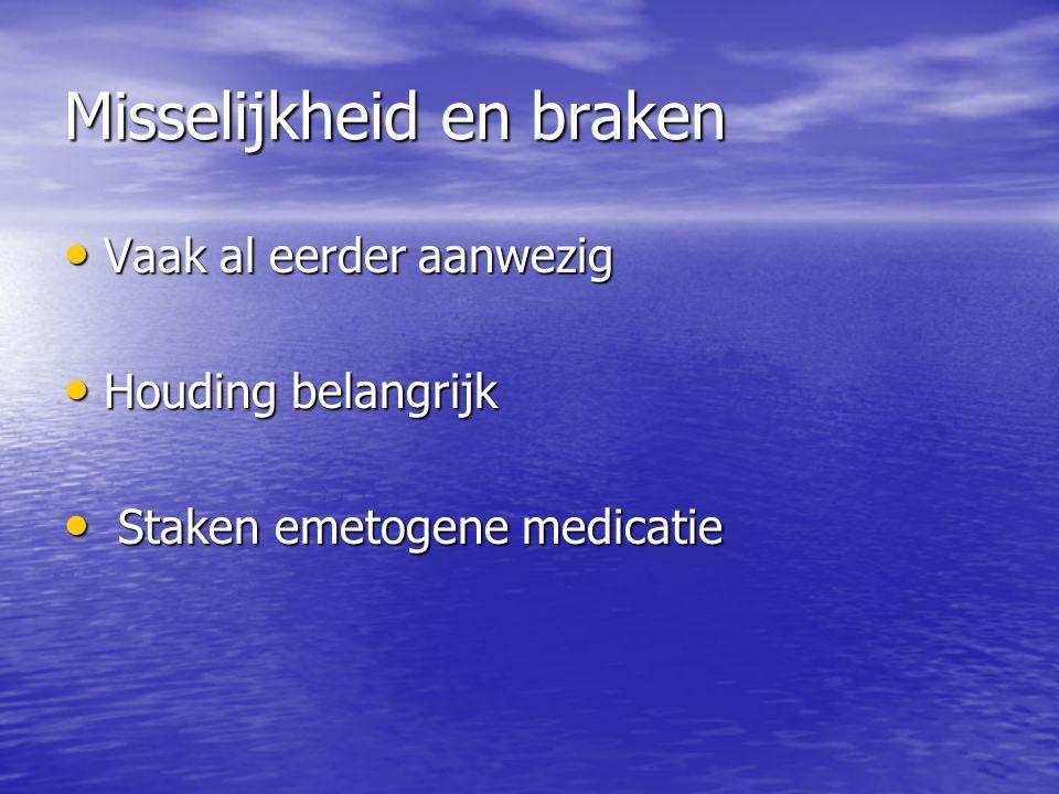 Misselijkheid en braken Metoclopramide 4 dd 20 mg sc./iv./supp Metoclopramide 4 dd 20 mg sc./iv./supp Haloperidol 1-3 dd 0,5-1 mg buccaal/sc./iv.