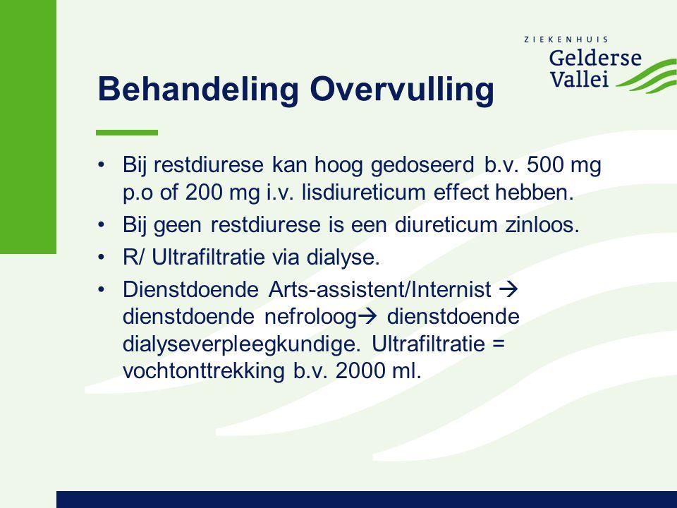 Behandeling Overvulling Bij restdiurese kan hoog gedoseerd b.v. 500 mg p.o of 200 mg i.v. lisdiureticum effect hebben. Bij geen restdiurese is een diu