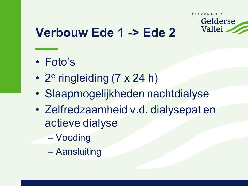 Verbouw Ede 1 -> Ede 2 Foto's 2 e ringleiding (7 x 24 h) Slaapmogelijkheden nachtdialyse Zelfredzaamheid v.d. dialysepat en actieve dialyse –Voeding –