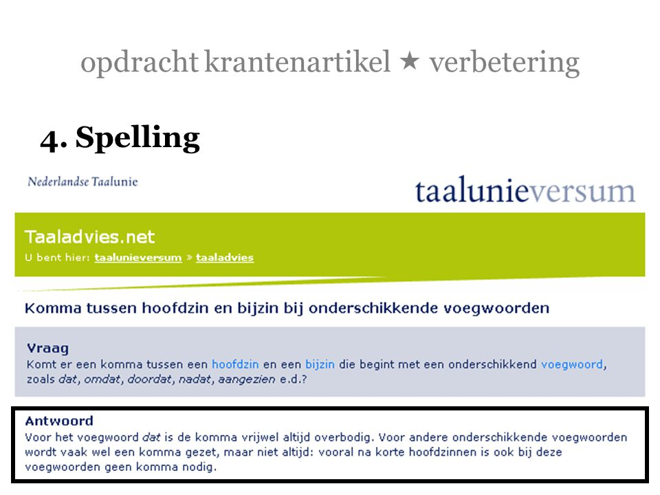 opdracht krantenartikel  verbetering 4. Spelling