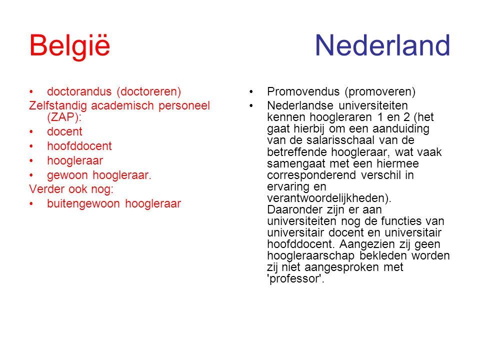 België Nederland doctorandus (doctoreren) Zelfstandig academisch personeel (ZAP): docent hoofddocent hoogleraar gewoon hoogleraar. Verder ook nog: bui