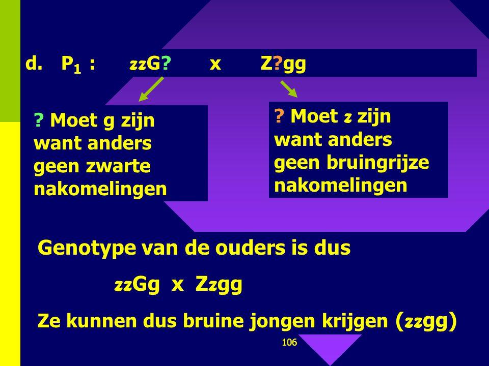 105 b. P 1 : zz GG x ZZGG F 1 : Z z GG  grijs ♀ ) zz gg x Z?G? Z??g x zz gg ( ♂ ) c.P 1 : ( ♀ ) zz gg x Z?G? Z??g x zz gg ( ♂ ) F 1 : Z z Gg x Z z g