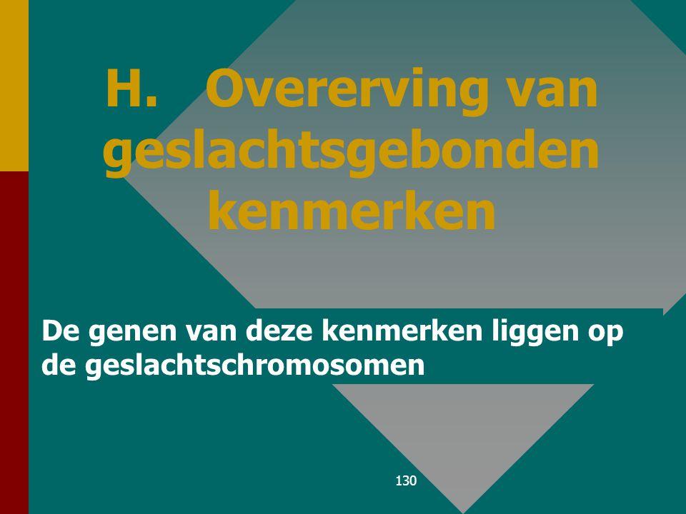 129 Vrouwen bezitten 2 homologe geslachts- chromosomen (XX); 1 actief X-chromosoom en 1 'geïnactiveerd' X-chromosoom of Barr- lichaampje. De geslachts