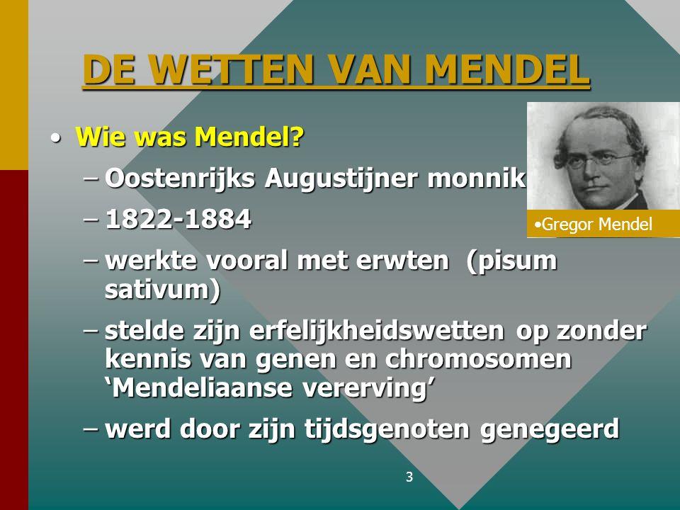 3 DE WETTEN VAN MENDEL DE WETTEN VAN MENDEL Wie was Mendel?Wie was Mendel.
