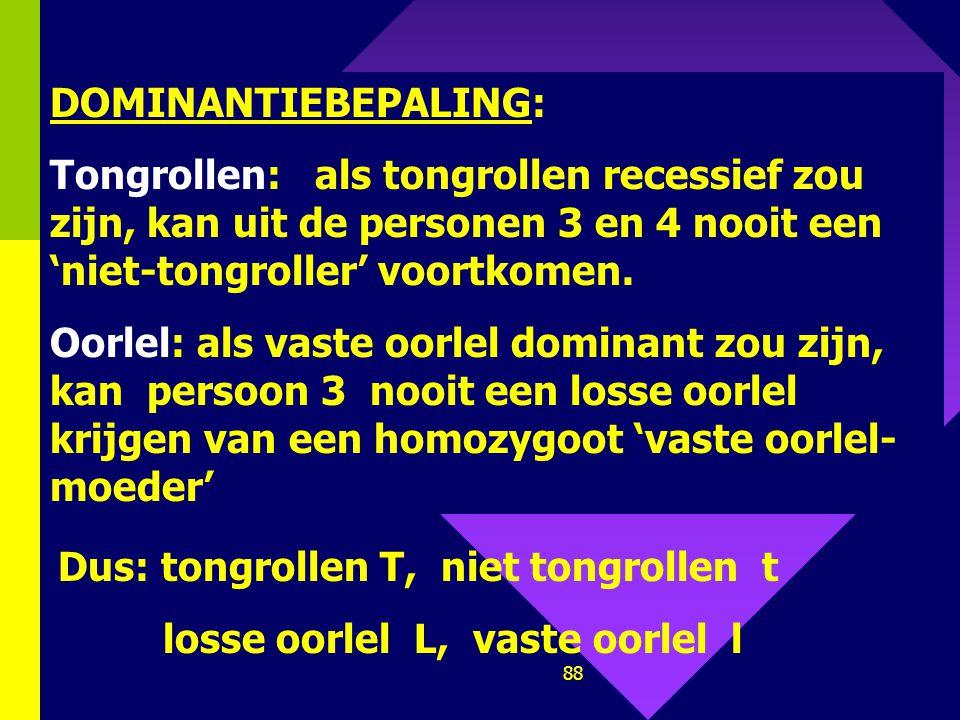 87 7. Stamboom oorlel / tongrollen Los tongrol Welke genotypes liggen zeker vast?