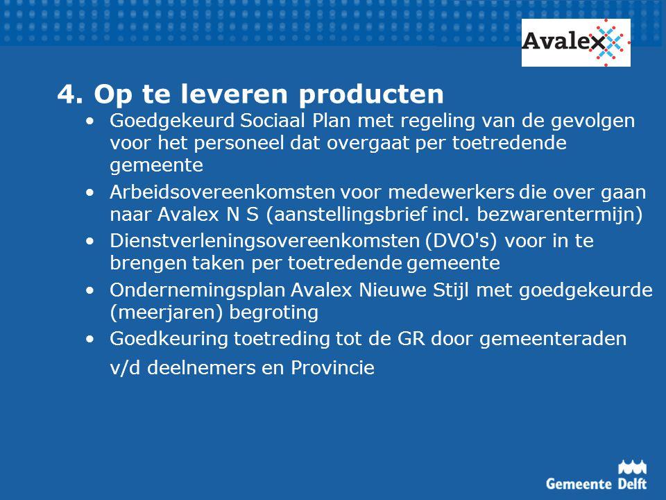 4. Op te leveren producten Goedgekeurd Sociaal Plan met regeling van de gevolgen voor het personeel dat overgaat per toetredende gemeente Arbeidsovere