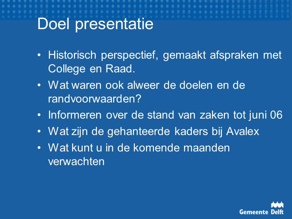 Doel presentatie Historisch perspectief, gemaakt afspraken met College en Raad.