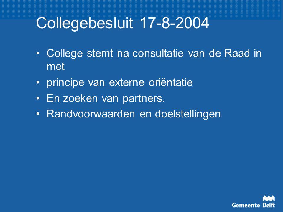 Collegebesluit 17-8-2004 College stemt na consultatie van de Raad in met principe van externe oriëntatie En zoeken van partners.