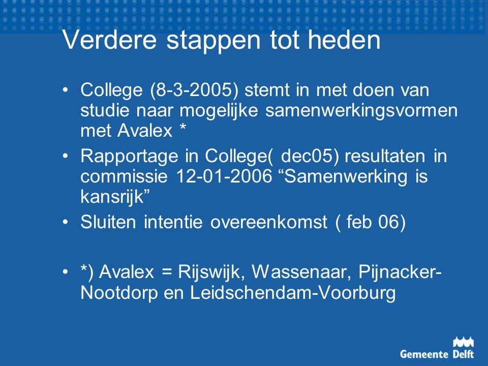 Verdere stappen tot heden College (8-3-2005) stemt in met doen van studie naar mogelijke samenwerkingsvormen met Avalex * Rapportage in College( dec05) resultaten in commissie 12-01-2006 Samenwerking is kansrijk Sluiten intentie overeenkomst ( feb 06) *) Avalex = Rijswijk, Wassenaar, Pijnacker- Nootdorp en Leidschendam-Voorburg