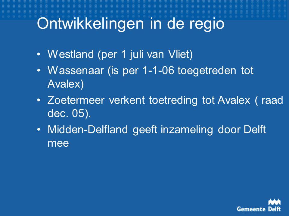 Ontwikkelingen in de regio Westland (per 1 juli van Vliet) Wassenaar (is per 1-1-06 toegetreden tot Avalex) Zoetermeer verkent toetreding tot Avalex ( raad dec.