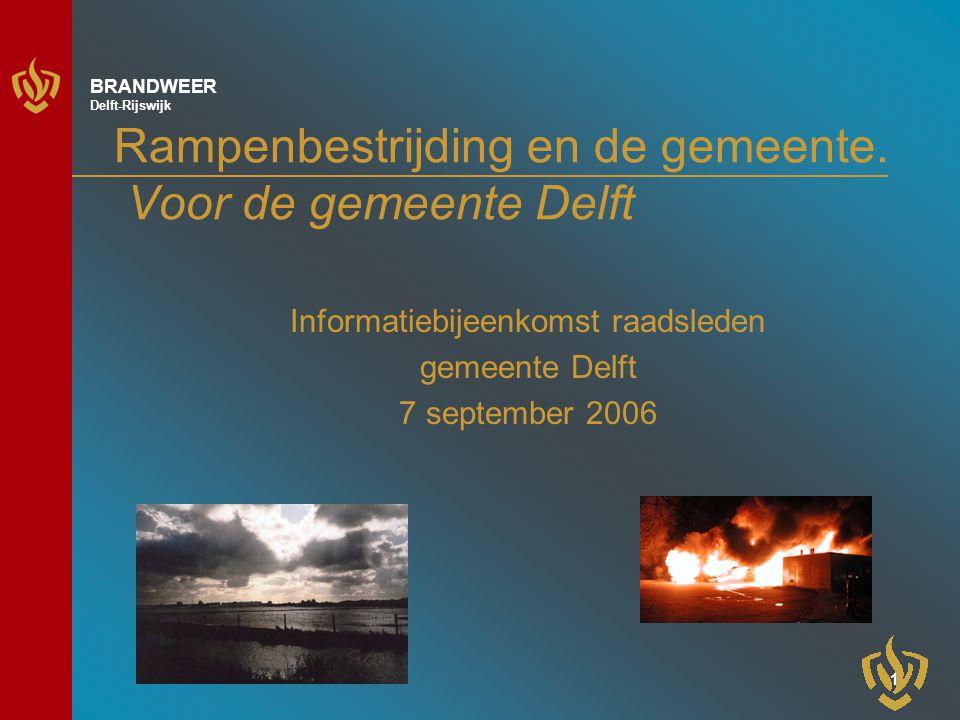 11 BRANDWEER Delft-Rijswijk Uitwerking in plannen Regionaal model rampenplan en procesplannen –Regionaal beheer van dit rampenplan Rampenbestrijdingsplannen –Uitkomsten risico-inventarisaties maatgevend Operationeel Basisplan –Gemeenten dragen lokale gegevens aan