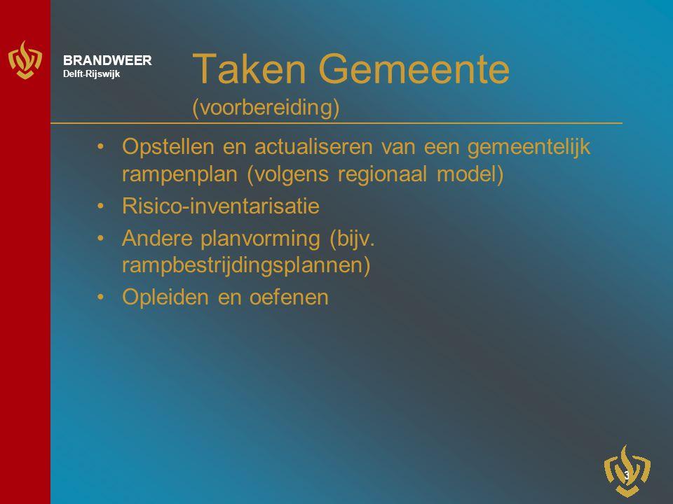 3 BRANDWEER Delft-Rijswijk Taken Gemeente (voorbereiding) Opstellen en actualiseren van een gemeentelijk rampenplan (volgens regionaal model) Risico-inventarisatie Andere planvorming (bijv.