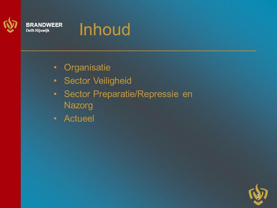3 BRANDWEER Delft-Rijswijk Organisatie Gemeenschappelijke Regeling (Delft en Rijswijk) Nauwe samenwerking met gemeenten Nauwe samenwerking met de Hulpverleningsregio Haaglanden
