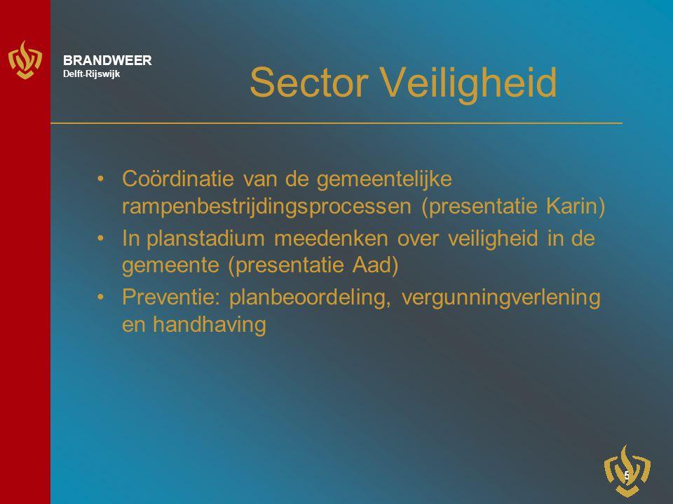 6 BRANDWEER Delft-Rijswijk Sector preparatie, repressie en nazorg Preparatie: Opleiden en oefenen, operationele voorbereiding, materieel en logistiek Repressie: 6 ploegen, 2 kazernes Nazorg: voor materieel/materiaal en personeel