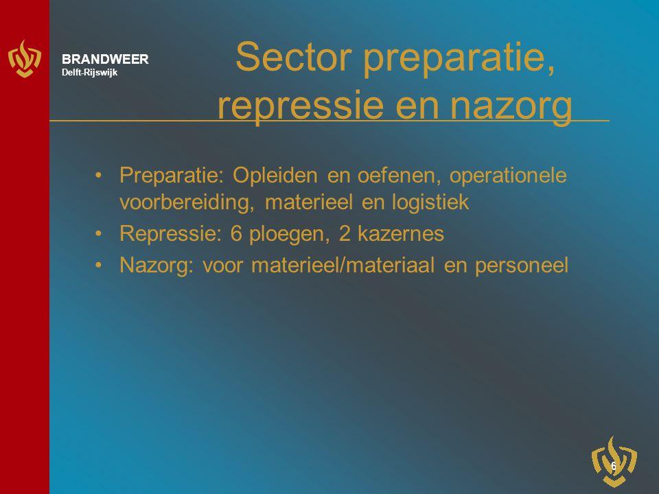 7 BRANDWEER Delft-Rijswijk Preparatie Opleiden en oefenen: –Steeds strengere eisen, opleiden brandweerpersoneel en BHV-ers (convenant Delftse bedrijven) –Oefenen conform de leidraad oefenen , ook voor operationeel leidinggevenden Operationele voorbereiding –Digitale informatievoorziening in voertuigen in voorbereiding (I.s.m.