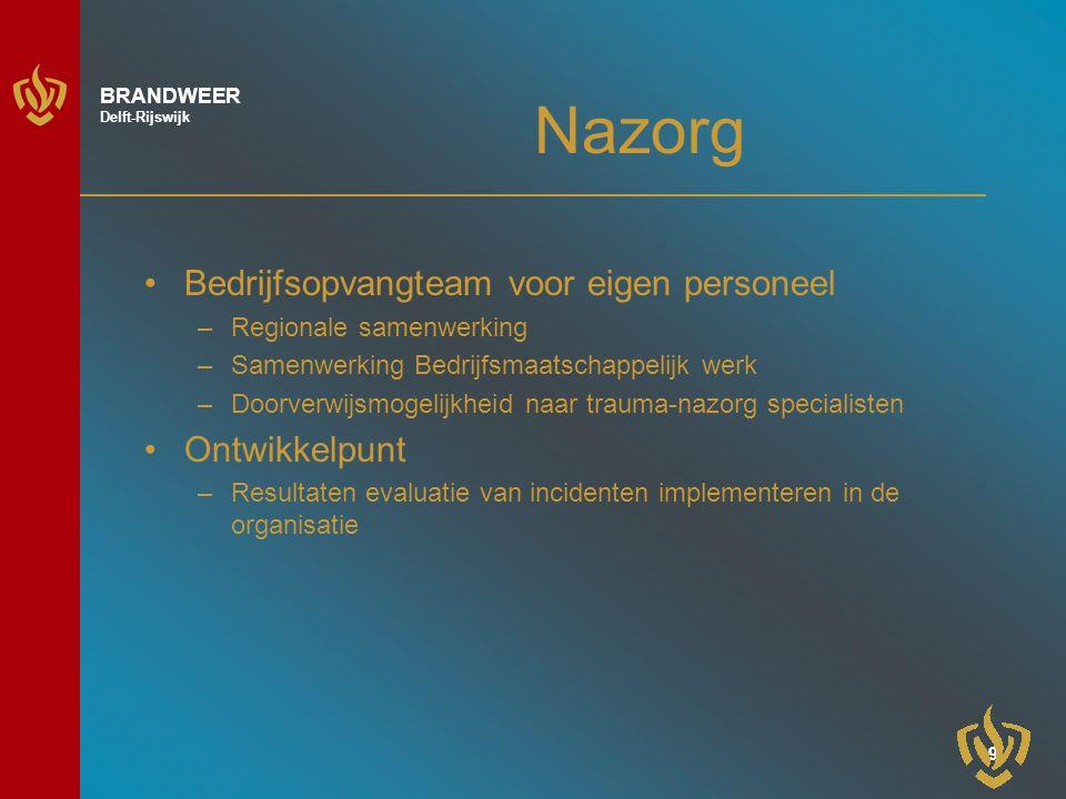 10 BRANDWEER Delft-Rijswijk Actueel Rapport inspectie OOV (risico-analyse brandweerzorg) Veiligheidsregio –Regionalisering brandweer Open dag Brandweer en Politie 7 oktober 2006 Opening brandweerkazerne 17 november 2006