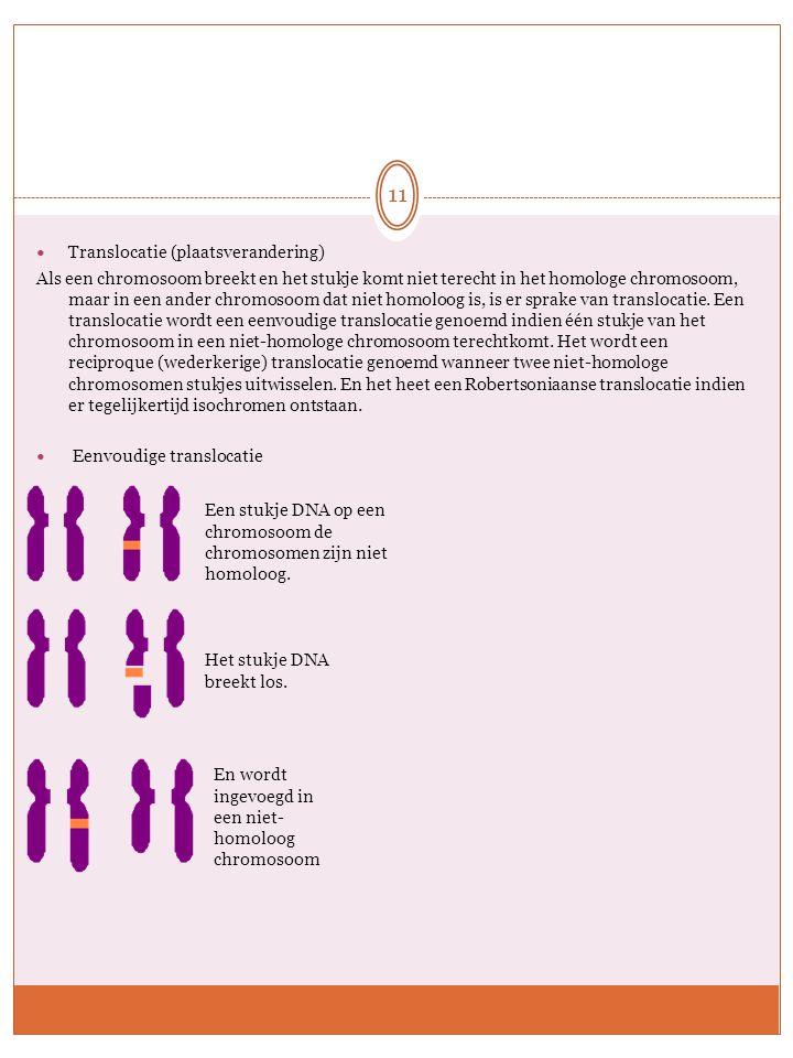 Translocatie (plaatsverandering) Als een chromosoom breekt en het stukje komt niet terecht in het homologe chromosoom, maar in een ander chromosoom da