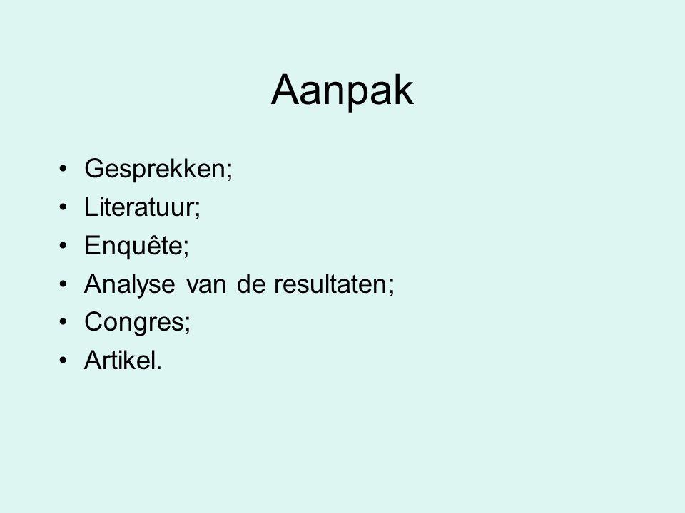 Aanpak Gesprekken; Literatuur; Enquête; Analyse van de resultaten; Congres; Artikel.