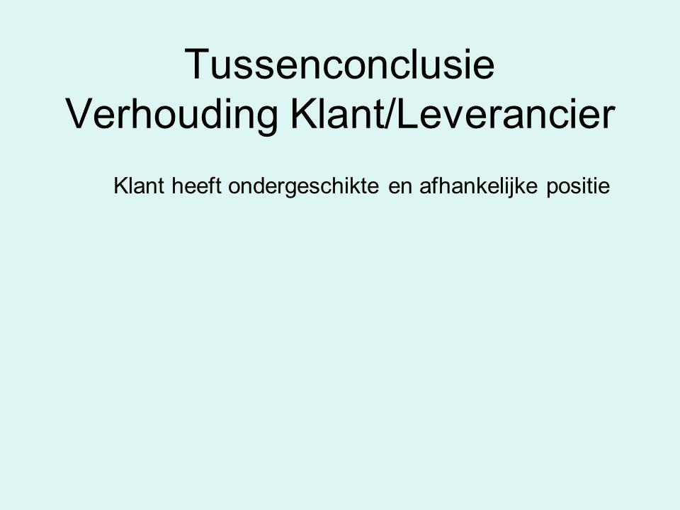 Tussenconclusie Verhouding Klant/Leverancier Klant heeft ondergeschikte en afhankelijke positie