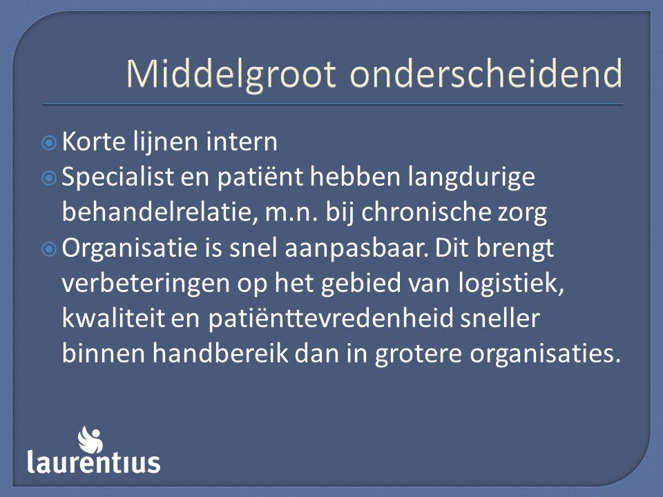 Middelgroot onderscheidend  Korte lijnen intern  Specialist en patiënt hebben langdurige behandelrelatie, m.n. bij chronische zorg  Organisatie is
