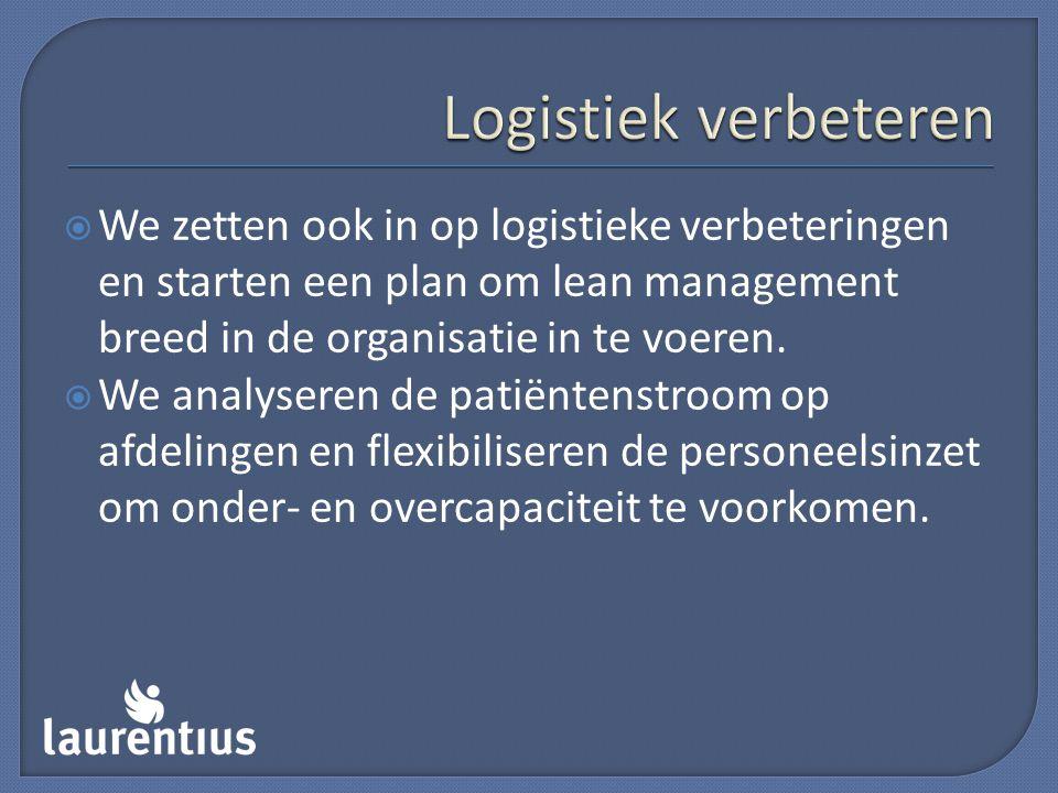  We zetten ook in op logistieke verbeteringen en starten een plan om lean management breed in de organisatie in te voeren.  We analyseren de patiënt